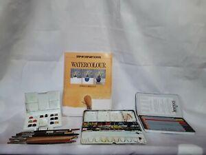 Watercolour Artist Bundle Paints Brushes Pencils & Art School Book Used