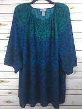 Catherines XL Blouse Tunic Top Shirt 3/4 Sleeve Blue Green Stretch Flowy EUC!