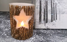 Nordic Style Tree Bark Wood Effect Cut Out Star LED Flameless Candle