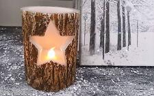 Nordic style arbre écorce effet bois découpé étoiles led sans flamme bougie