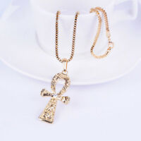 """Ankh New Necklace Egyptian /""""Etched/"""" Pendant With 24 Inch Long 5mm Figaro Chain"""