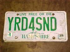 2010 NEW HAMPSHIRE Live free or die VANITY License Plate YRD4SND NH yard sand