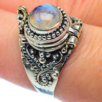Rainbow Moonstone 925 Sterling Silver Poison Ring Size 7.75 Jewelry R37378F