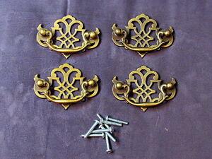 "4 Vintage Soild Brass Chippendale Style Drawer Pulls 3"" Center To Center NOS"
