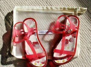 Girls Dolce & Gabbana Jelly Sandals, Pink Rubber, EU 28