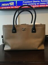 CHANEL Authentic Rare Cerf Tote Bag Beige/Black Caviar Leather Silver Hardware