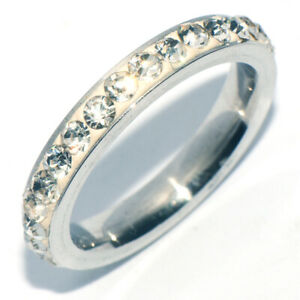Gorgeous 925 Silver Crystal Band Womens Wedding Bridal Party Ring Size 9