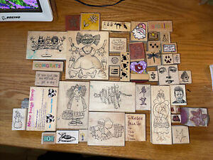Lot of 43 Rubber Stamps Scrapbooking Imagine That Stamp Art Supplies Heart etc