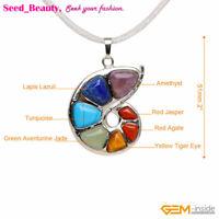7 Chakra Cocktail Snails Natural Quartz Gemstone Reiki Healing Pendant Necklace