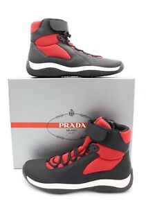 Prada Black Red Punta Ala America's Cup Ankle Strap High-Top Sneakers Shoes 10.5