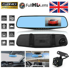 """1080P Dash Camera 4.3"""" Front and Rear Car DVR Cam Reverse Mirror Video Recorder"""