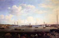"""Huge Oil painting Seascape - Gloucester Harbor at Sunset & Sail Boats canvas 36"""""""