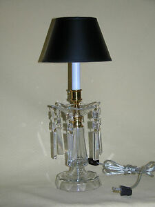 Cut Crystal Table Lamp with Crystal Drops