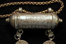 "Antique BedouinYemen Tribal Prayer-Box Silver Pendant 3 14"""