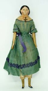"""ANTIQUE 1850'S MILLINERS PAPER MACHE WOODEN LEGS & ARMS GREINER 15"""" DOLL**WOW!!"""