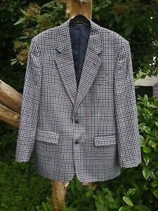 VINTAGE MENS GREY CHECK 100% PURE NEW WOOL JACKET BY GREENWOODS CLASSICS SIZE 40