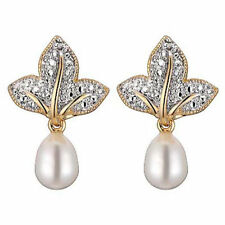 FC092112 Sea Shell Pearl Earrings 925 Golden Hook Yellow Gold Plated