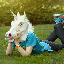 Halloween White Unicorn Horse Head Mask Latex for a Crazy Cosplay Party FJAUN@