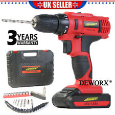 21V Cordless Combi Drill Set Driver Screwdriver Lithium Ion 1 Hour Fast Charge