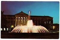 Purdue University Indiana Postcard Evening View Loeb Memorial Fountain #76953
