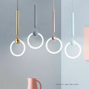 Colorful Ring Pendant Lights Indoor Fixture Novelty Country Style Loft Hang Lamp