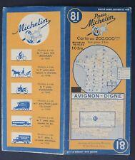 Carte MICHELIN old map n°81 AVIGNON DIGNE 1943 Guide Bibendum pneu tyre