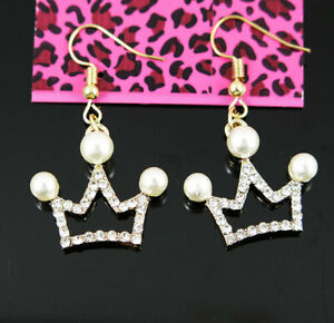 New Betsey Johnson Crown Crystal Pearl Dangle Gold Hook Earrings woman Jewelry