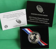 U.S. MARSHALS SERVICE 225th ANNIVERSARY 2015 PROOF CLAD HALF DOLLAR WITH COA