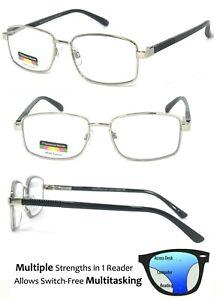 Square Metal Frame Progressive Multi Focus 3 Strengths in 1 Reading Glasses