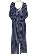 Mint of Blush Striped Romper Jumpsuit V-neck flutter sleeves Plus size 1X