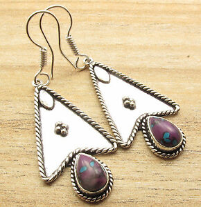 Handmade Jewelry Silver Plated Purple Copper Turquoise Earrings Latest Style