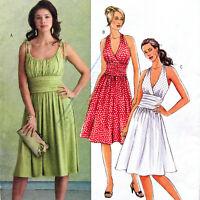 Sewing Pattern Dress 8 10 12 14 Halter Top Shoulder Straps Uncut B5029