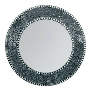 24 Inch Black And Silver Crackled Round Decorative Wall Mirror - Open Box