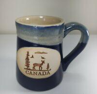 CANADA Pottery Stoneware Moose With Trees Blue Glaze Mug Souvenir