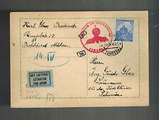 1942 Prossnitz Bohemia Moravia Postcard Cover Guido Glass Switzerland Maildrop 5