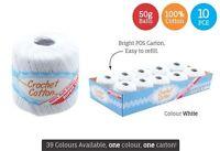 10 x Super Soft Crochet Cotton Ball 50g Wool Yarn White NEW (WIN-067)