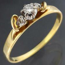 High Tee-pee Set Solid 18k Yellow GOLD 3 DIAMOND RING with loops Larger Sz R1/2