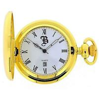 "Boxx Goldtone Gents Date Pocket Watch on 12"" Chain Boxx185"