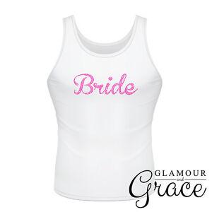 White Singlet Bride Bridesmaid Bridal Party Hens Night Personalised Tank Top Tee