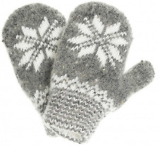 Gray Knit Wool Blend Mittens with White Snowflake Pattern (size 5)
