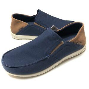 Crocs Santa Cruz Slip On Shoes Blue Canvas Brown 204834-4R9 Mens Size 10
