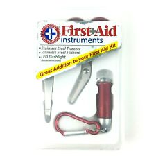 First Aid Instruments Kit Stainless Steel Tweezer Scissors LED Flashlight