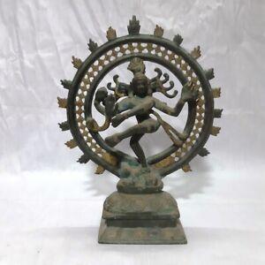 Antique Nataraja Shiva Statue Dancing Shiva God Of Dance Sculpture Brass Idol