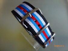 Relojes pulsera durchzugsband nylon azul blanco azul claro rojo 22 mm OTAN banda