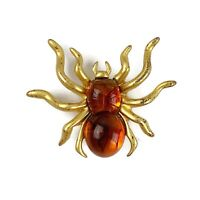 Vtg Gold Tone Faux Amber Jelly Belly SPIDER Bug Insect Brooch Pin