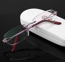 Women Quality Titanium Purple Rimless Reading Glasses Elegance +1.00 ~ +4.00