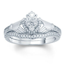 1/3 Ct White Natural Diamond Claddagh Bridal Ring In Solid 10k White Gold
