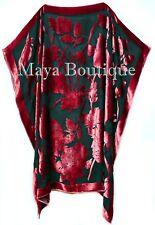 Caftan Dress Kimono Silk Burnout Velvet Red Black Hand Dyed Maya Matazaro