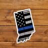 Indiana Thin Blue Stripe Sticker Decal Police American Flag Tattered USA
