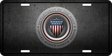 Aluminum Department Of The Navy & Marines Collectible License Plate Tag Shield